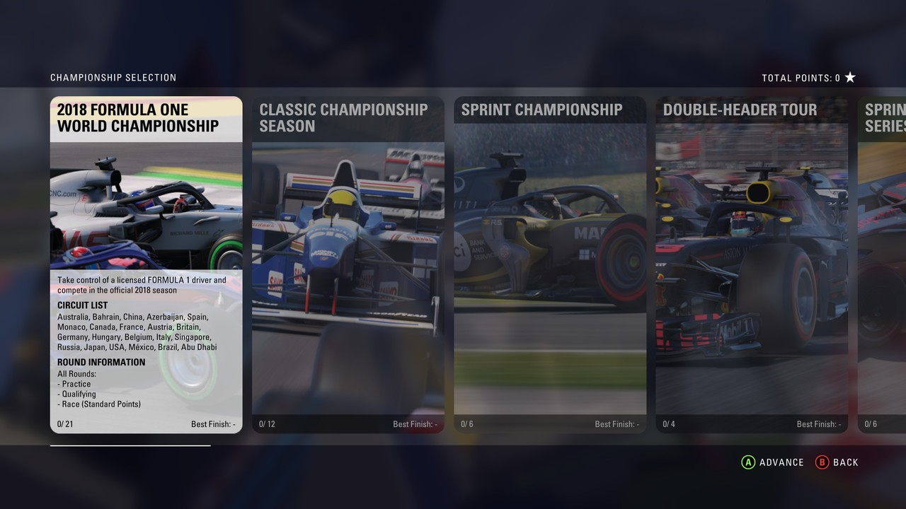 Stejně jako minule v F1 2017 má režim šampionátu mnoho různých podob