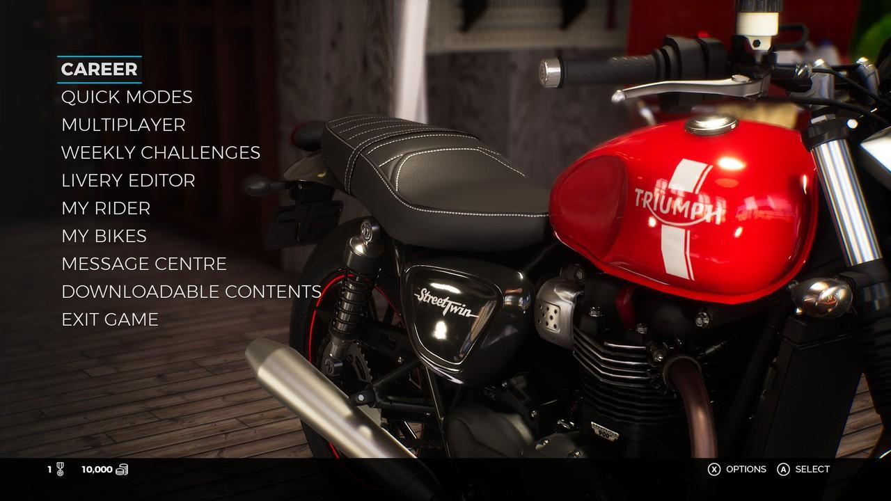 Všechny jízdní režimy Ride 3 v hlavním menu